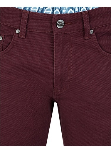 Tween Super Slim Fit Desenli Chino Pantolon Mürdüm